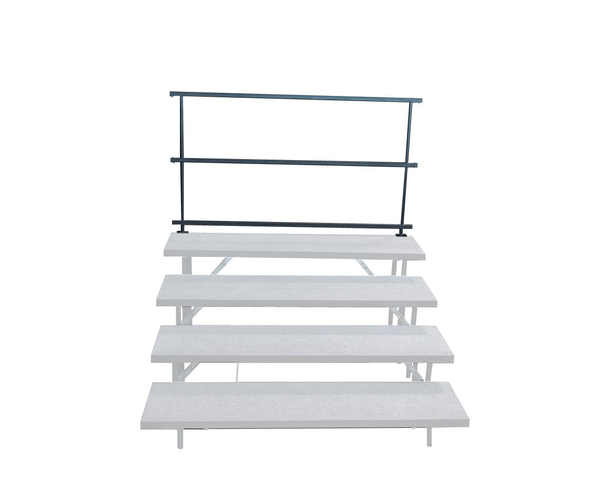 Back guard rails for standing choral risers